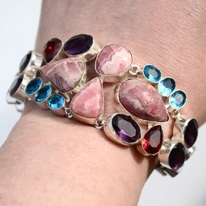 Jewelry - Rhodochrosite Glass Bracelet Wide Cuff Gemstone